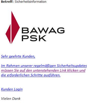 Phishing Mail Im Umlauf Bawag Psk